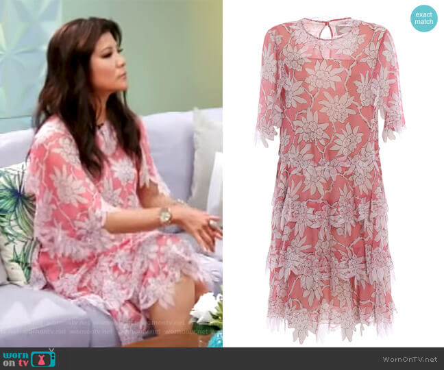 floral print tiered dress by Valentino worn by Julie Chen  on Big Brother