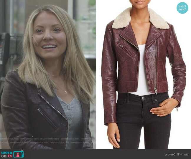 Nova Shearling-Collar Leather Jacket by Veda  worn by Kaitlin Doubleday on Nashville