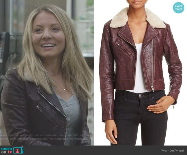 Nova Shearling-Collar Leather Jacket by Veda  worn by Jessie Caine (Kaitlin Doubleday) on Nashville