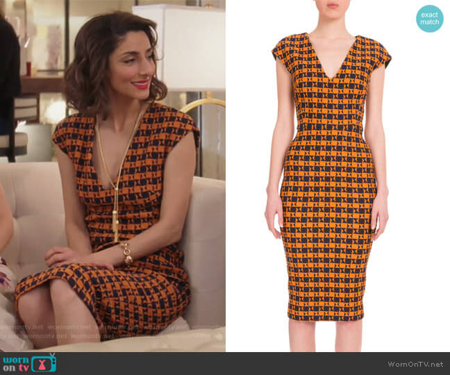 Cap-Sleeve Geometric-Print Dress by Victoria Beckham worn by Delia (Necar Zadegan) on GG2D