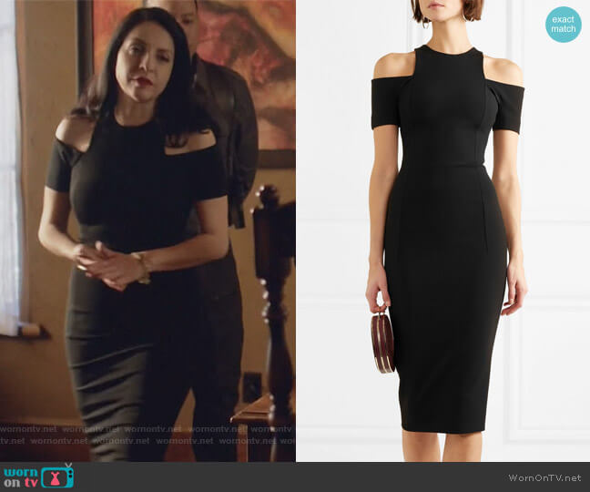 Cold-shoulder jersey dress by Victoria Beckham worn by Camila Vargas (Veronica Falcón) on Queen of the South