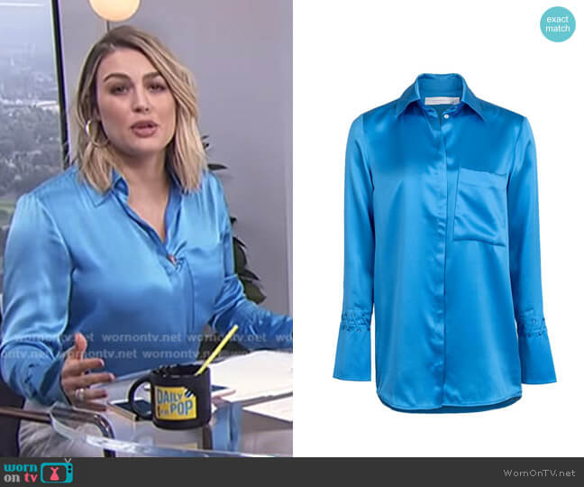 One Pocket Fluid Shirt by Victoria Beckham worn by Carissa Loethen Culiner (Carissa Loethen Culiner) on E! News