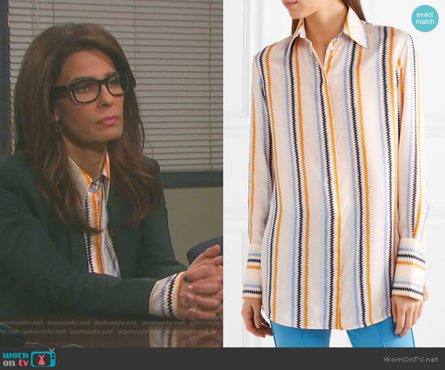 Striped Silk-Satin Shirt by Victoria Victoria Beckham worn by Kristian Alfonso on Days of our Lives