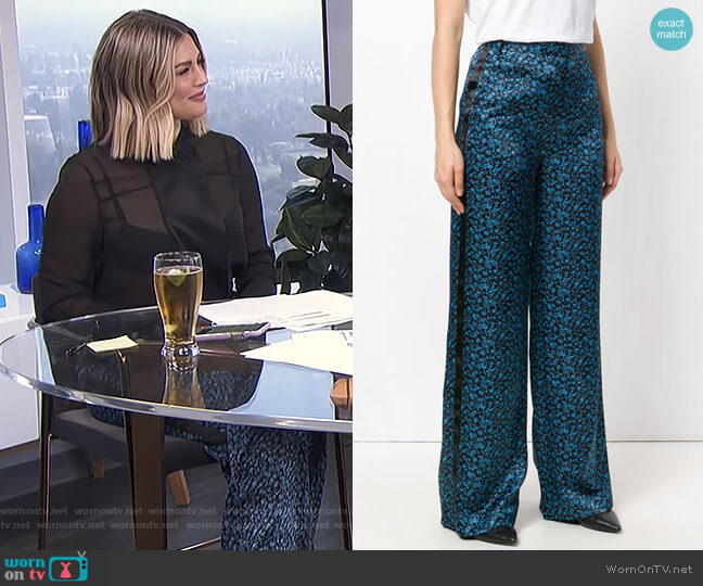 Floral Palazzo Pants by Victoria Beckham worn by Carissa Loethen Culiner (Carissa Loethen Culiner) on E! News