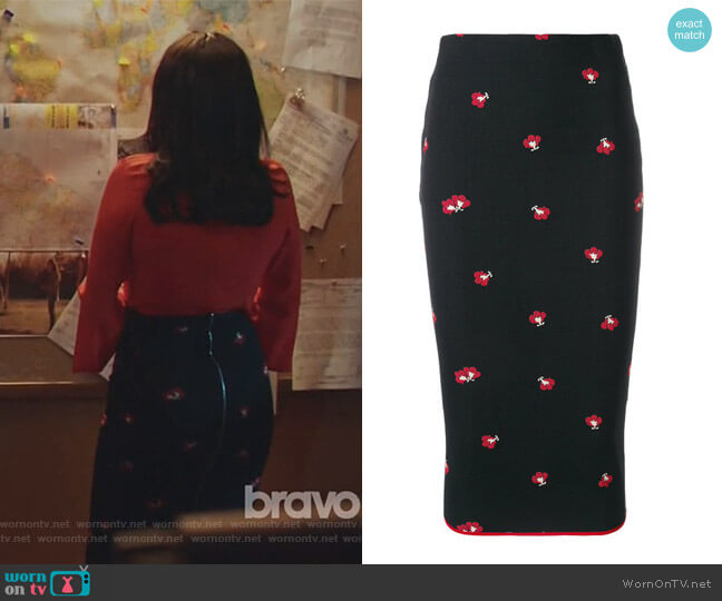 Floral Pencil Skirt by Victoria Beckham worn by Camila Vargas (Veronica Falcón) on Queen of the South