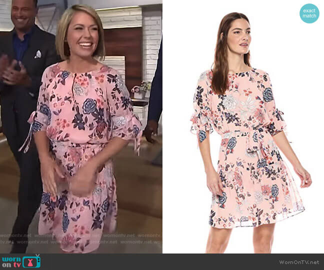Floral Print Chiffon Dress by Vince Camuto worn by Dylan Dreyer on Today