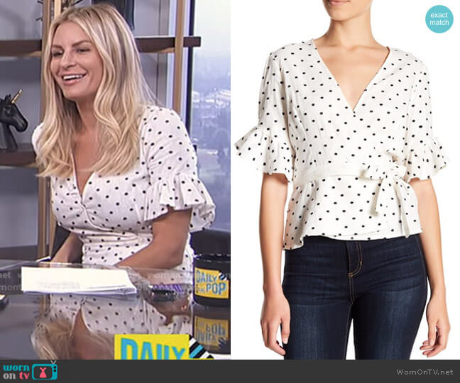 Kaitlyn Ruffle Sleeve Blouse by Wayf worn by Morgan Stewart on E! News