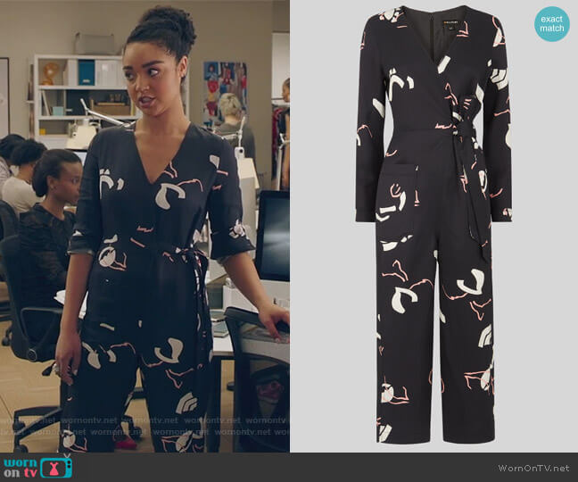 Abella Tie Linen Jumpsuit by Whistles worn by Kat Edison (Aisha Dee) on The Bold Type