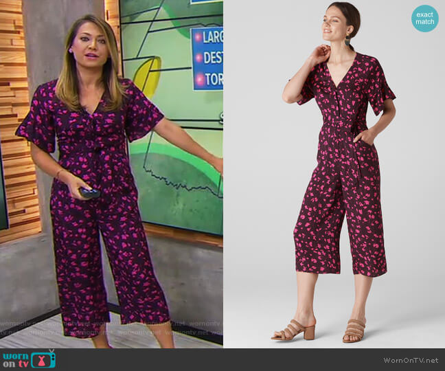 Celia Print Tie Front Jumpsuit by Whistles worn by Ginger Zee  on Good Morning America