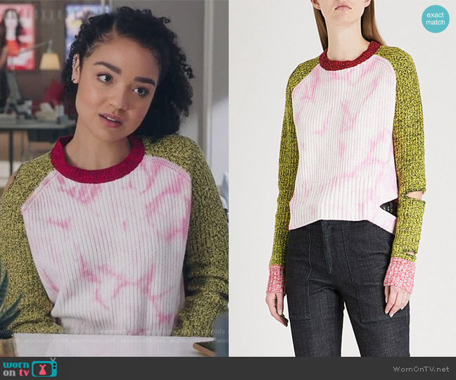 Akar cutout wool and cashmere-blend sweater by Zoe Jordan worn by Kat Edison (Aisha Dee) on The Bold Type