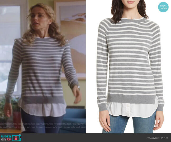 Zaan Hem Inset Stripe Sweater by Joie worn by Lizzie Needham (Bojana Novakovic) on Instinct