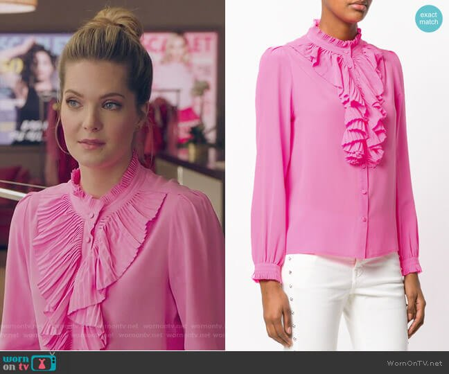 Tacco ruffle trim shirt by Zadig & Voltaire worn by Sutton (Meghann Fahy) on The Bold Type