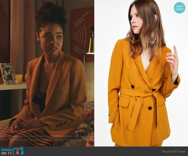 Long Belted Jacket by Zara  worn by Kat Edison (Aisha Dee) on The Bold Type