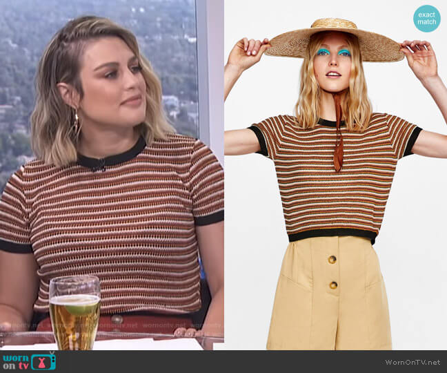Multicolored Striped Jersey by Zara worn by Carissa Loethen Culiner  on E! News