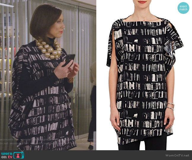 IQ Book-Print Stretch-Silk Tunic by Zero + Maria Cornejo worn by Diana Trout (Miriam Shor) on Younger
