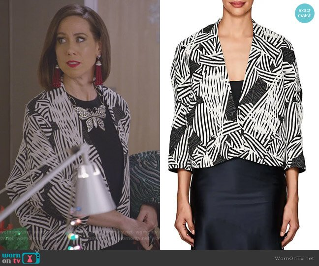 Stella Shrug by Zero + Maria Cornejo  worn by Diana Trout (Miriam Shor) on Younger