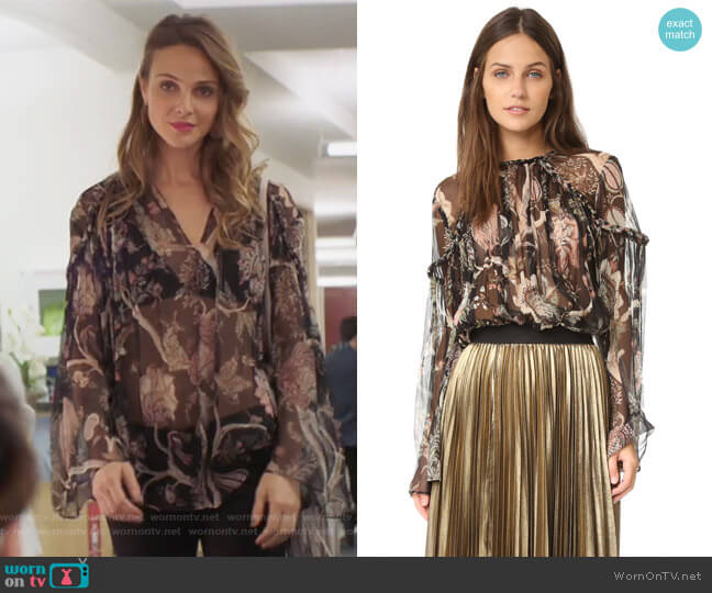 Lavish Braid Top by Zimmermann (worn backwards) worn by Phoebe Wells (Beau Garrett) on GG2D