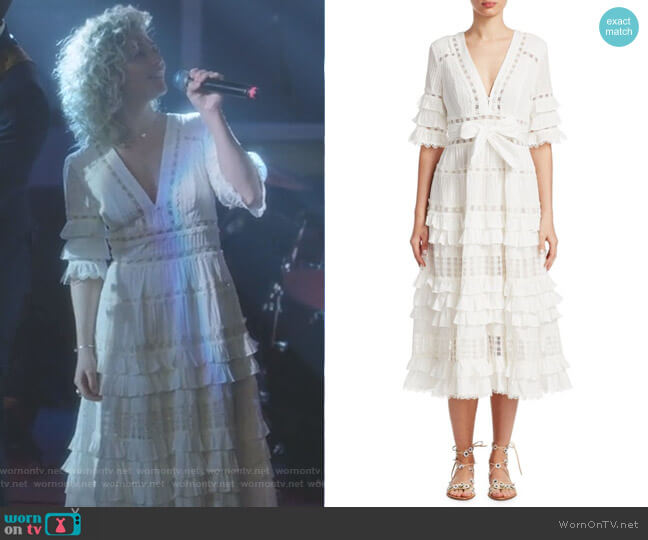 Corsair Ruffle Midi Dress by Zimmermann worn by Scarlett O'Connor (Clare Bowen) on Nashville