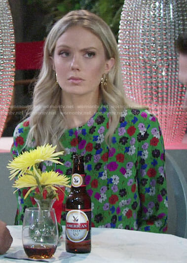 Abby's green floral blouse on The Young and the Restless