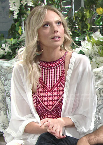 Abby's red printed swimsuit on The Young and the Restless