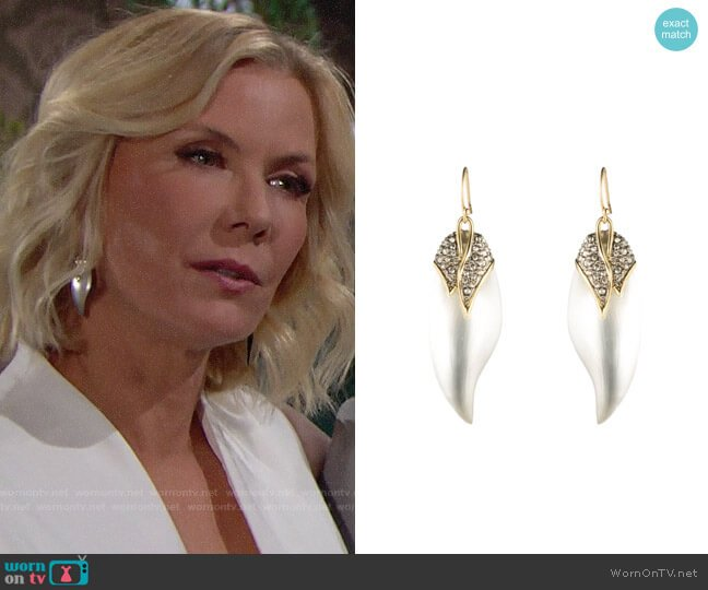 Alexis Bittar Crystal Encrusted Capped Feather Earring worn by Brooke Logan (Katherine Kelly Lang) on The Bold & the Beautiful