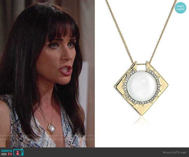 Alexis Bittar Geometric Pendant Necklace worn by Rena Sofer on The Bold & the Beautiful