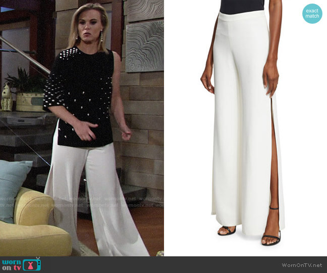 Alexis Brenda Wide-Leg Side-Slit Pants worn by Gina Tognoni on The Young & the Restless