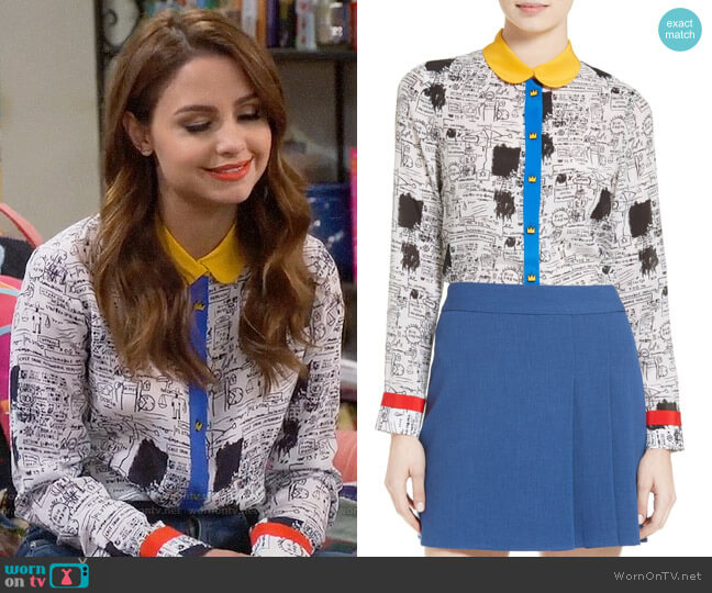 Alice + Olivia Gary Print Silk Blouse worn by Aimee Carrero on Young & Hungry
