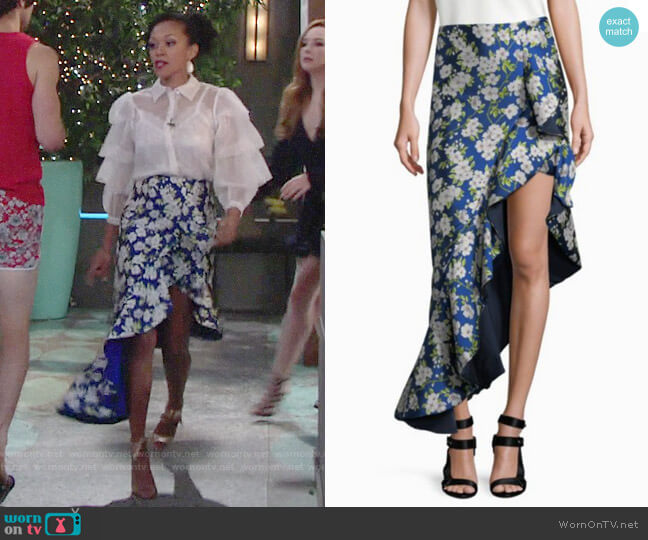 Alice + Olivia Lovetta Skirt worn by Mishael Morgan on The Young & the Restless
