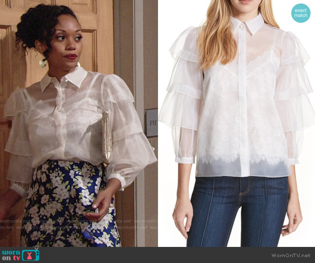 Alice + Olivia Mary Alice Top worn by Mishael Morgan on The Young & the Restless