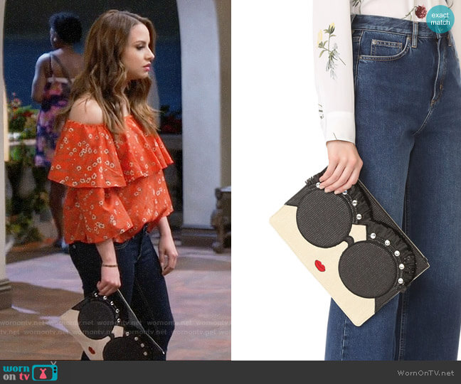 Alice + Olivia Stace Face Embellished Large Zip Pouch worn by Aimee Carrero on Young & Hungry