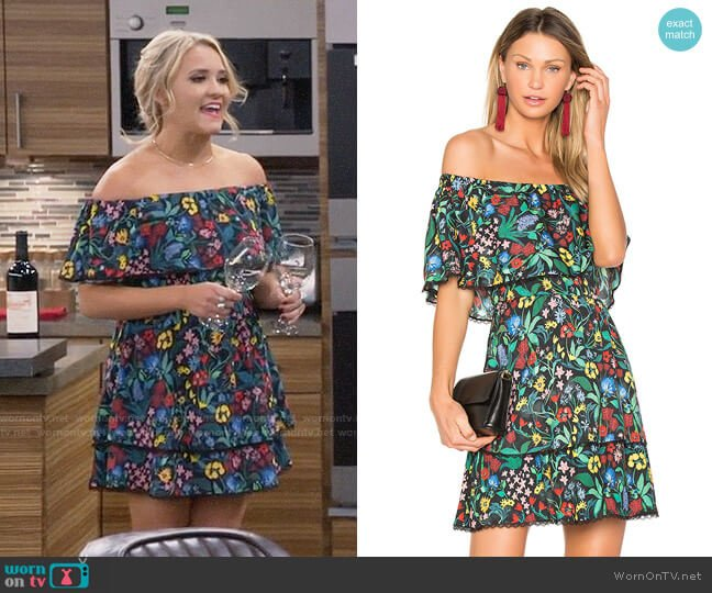 Alice + Olivia Tylie Dress worn by Emily Osment on Young & Hungry