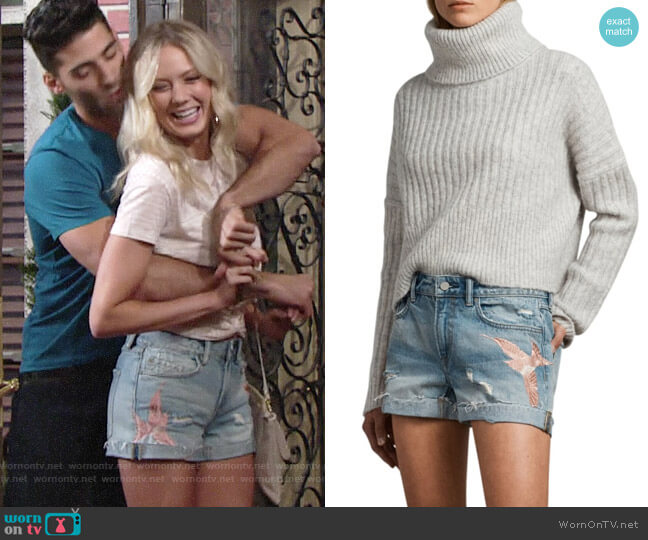 All Saints Birds Pam Embroidered Denim Shorts worn by Melissa Ordway on The Young & the Restless