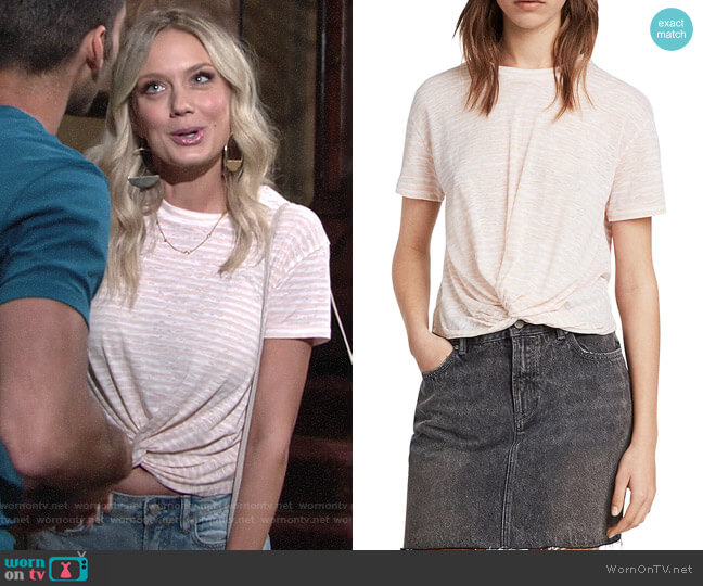 All Saints Carme Twist-Front Striped Tee worn by Melissa Ordway on The Young & the Restless