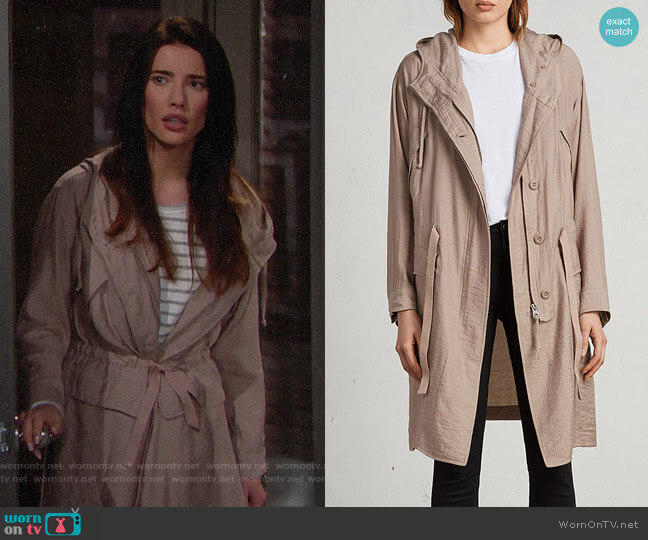 All Saints Kinsley Parka worn by Steffy Forrester (Jacqueline MacInnes Wood) on The Bold & the Beautiful