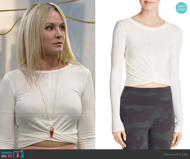 Alo Yoga Twist Front Top worn by Sharon Case on The Young & the Restless