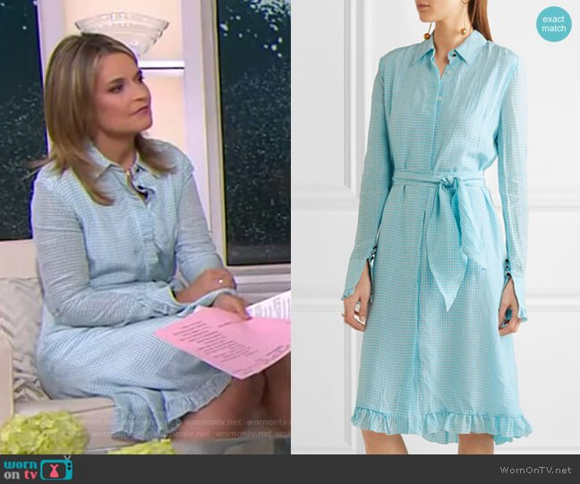 Laguna ruffle-trimmed gingham dress by Altuzarra worn by Savannah Guthrie (Savannah Guthrie) on Today