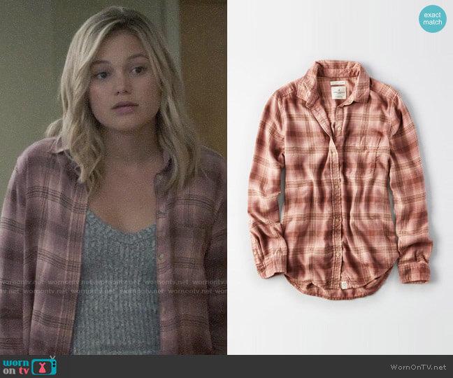 American Eagle Ahh-mazingly Soft Plaid Boyfriend Shirt worn by Olivia Holt on Cloak & Dagger