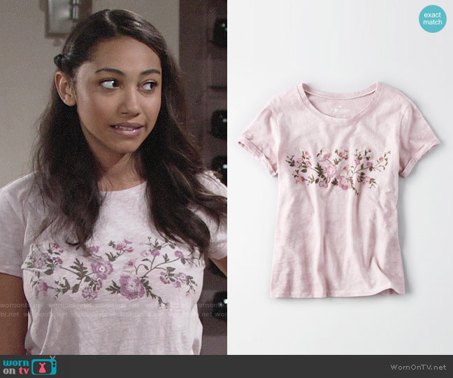 American Eagle Embroidered Roll Sleeve t-shirt worn by Camryn Hamm on The Young & the Restless
