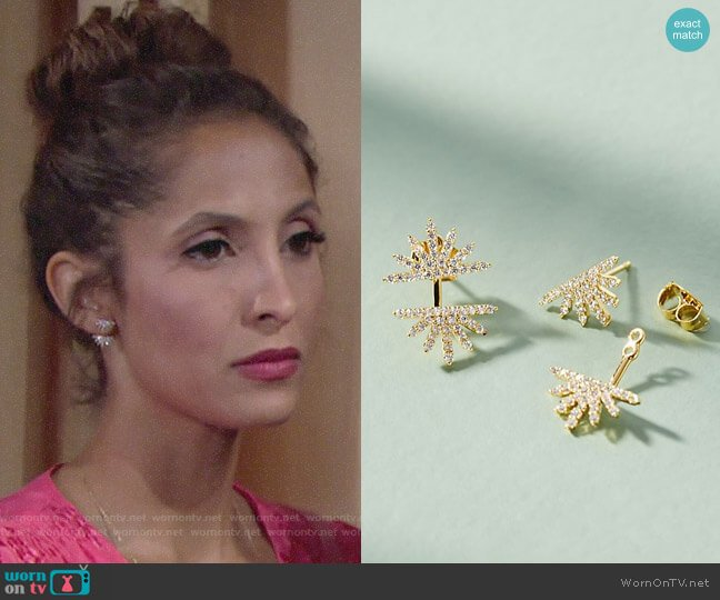 Anthropologie Sunburst Front-Back Earrings worn by Lily Winters (Christel Khalil) on The Young & the Restless