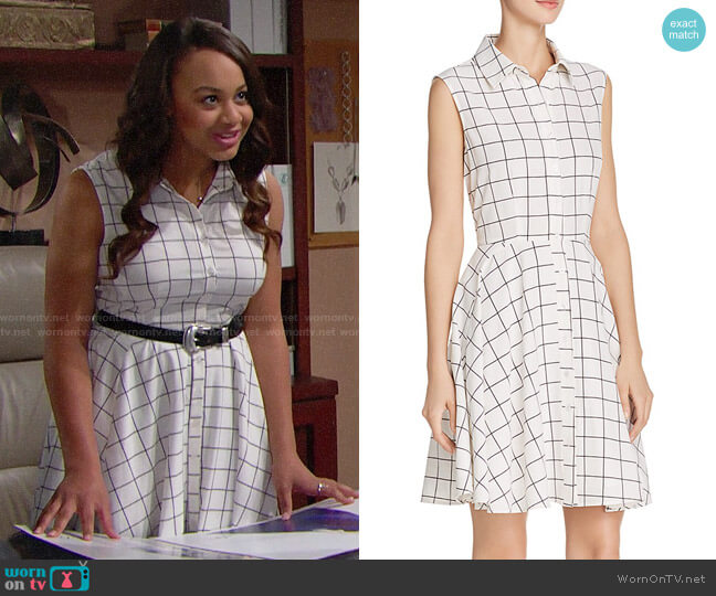 Aqua Windowpane Shirt Dress worn by Nia Sioux on The Bold & the Beautiful