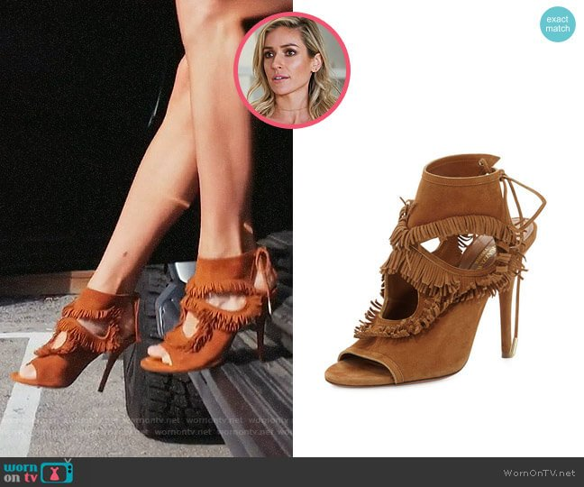 Aquazurra Sexy Fringe Suede Tie-Back Sandal worn by Kristin Cavallari on Very Cavallari