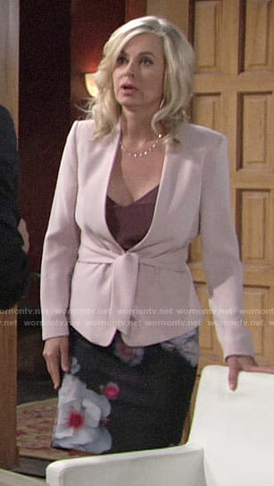 Ashley's blush tie front blazer and floral pencil skirt on The Young and the Restless