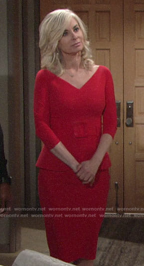 Ashley's red belted peplum dress on The Young and the Restless