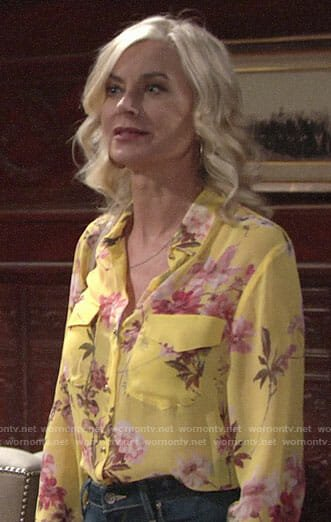 Ashley's yellow floral shirt on The Young and the Restless