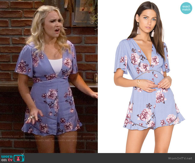 ASTR Cadence Romper in Periwinkle Floral worn by Gabi Diamond (Emily Osment) on Young & Hungry
