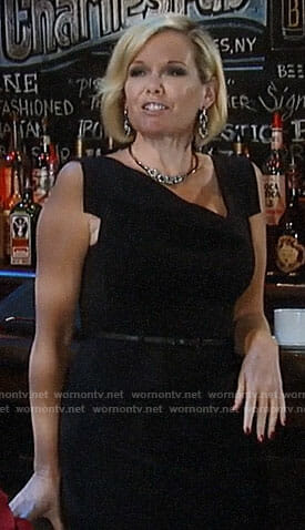 Ava's black asymmetric neck dress on General Hospital