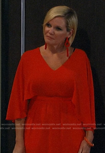 Ava's orange cape sleeve dress on General Hospital