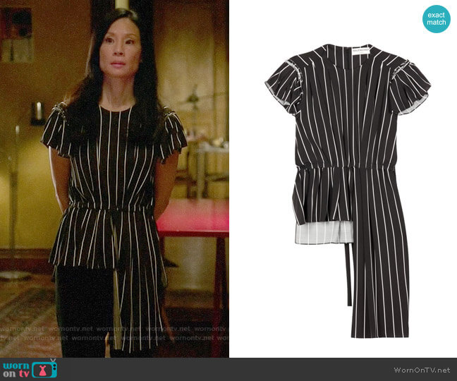 Balenciaga Frill Striped Top worn by Joan Watson (Lucy Liu) on Elementary