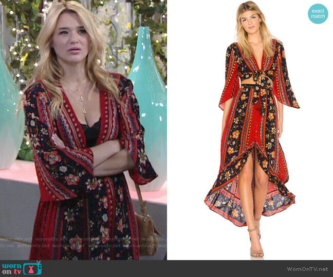 Band of Gypsies Bohemian Tie Front Blouse and Skirt worn by Hunter King on The Young & the Restless